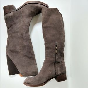 Lucky brand Hanover taupe suede riding boots 7.5